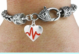 """<BR>                                                                 NICKEL FREE !<BR>                                                         """"THE PERFECT GIFT"""",<BR>                               """"Your Love Makes My Heart Beat"""","""" I Love You"""", Or<BR>                      In Recognition Of """"Women's Or Children's Heart Disease""""<BR>                           """" HEARTBEAT """" HEART WOVEN CHAIN BRACELET<BR>                               AN ORIGINAL ALLAN ROBIN CUSTOM DESIGN<br>                                          WHOLESALE CHARM BRACELET <BR>                                        LEAD, CADMIUM & NICKEL FREE!!  <BR>                           W21562B-ANTIQUE WOVEN CHAIN SILVER TONE  <BR>                             BRACELET FROM $4.90 TO $5.85 EACH! &#169;2015"""