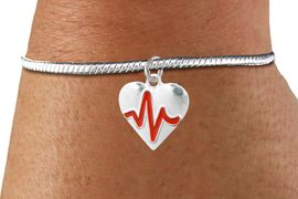 "<BR>                                                                 NICKEL FREE !<BR>                                                         ""THE PERFECT GIFT"",<BR>                               ""Your Love Makes My Heart Beat"","" I Love You"", Or<BR>                      In Recognition Of ""Women's Or Children's Heart Disease""<BR>                           "" HEARTBEAT "" ADJUSTABLE SNAKE CHAIN BRACELET<BR>                               AN ORIGINAL ALLAN ROBIN CUSTOM DESIGN<br>                                          WHOLESALE CHARM BRACELET <BR>                                        LEAD, CADMIUM & NICKEL FREE!!  <BR>                           W21569B-ADJUSTABLE SNAKE CHAIN SILVER TONE  <BR>                             BRACELET FROM $4.90 TO $5.85 EACH! &#169;2015"