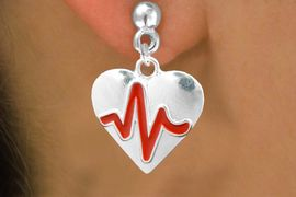 """<BR>                                                      NICKEL FREE !<BR>                                               """"THE PERFECT GIFT"""",<BR>                     """"Your Love Makes My Heart Beat"""","""" I Love You"""", Or<BR>            In Recognition Of """"Women's Or Children's Heart Disease""""<BR>                      """"HEARTBEAT""""  POST NON ALLERGIC EARRINGS<BR>                         AN ORIGINAL ALLAN ROBIN CUSTOM DESIGN<br>                                       WHOLESALE CHARM EARRINGS <BR>                                     LEAD, CADMIUM & NICKEL FREE!!  <BR>                      W21572E-NON-ALLERGIC, BRIGHT SILVER TONE <BR>                  POST EARRINGS FROM $4.65 TO $8.45 EACH! &#169;2015"""