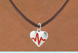"""<BR>                                  NICKEL FREE & ADJUSTABLE NECKLACE ! <BR>                                                         """"THE PERFECT GIFT"""",<BR>                               """"Your Love Makes My Heart Beat"""","""" I Love You"""", Or<BR>                      In Recognition Of """"Women's Or Children's Heart Disease""""<BR>                            """"HEARTBEAT"""" BROWN SUEDE ADJUSTABLE NECKLACE<BR>                                     AN ORIGINAL ALLAN ROBIN CUSTOM DESIGN<br>                                                   WHOLESALE CHARM NECKLACE <BR>                                                 LEAD, CADMIUM & NICKEL FREE!!  <BR>                                W21579N-BROWN SUEDE ADJUSTABLE NECKLACE <BR>                                FITS ALL SIZES FROM $5.60 TO $9.85 EACH! &#169;2015"""