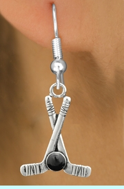 <BR>                                NICKEL FREE !<BR>             WHOLESALE HOCKEY JEWELRY <bR>                    EXCLUSIVELY OURS!! <Br>               AN ALLAN ROBIN DESIGN!! <BR>         LEAD, NICKEL & CADMIUM FREE!! <BR>W21581SE - SILVER TONE HOCKEY STICKS <BR> AND PUCK CHARM EARRINGS  $9.38 �2013