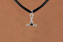 <BR>NICKEL FREE & ADJUSTABLE NECKLACE !<BR>             WHOLESALE HOCKEY JEWELRY  <bR>                    EXCLUSIVELY OURS!!  <Br>               AN ALLAN ROBIN DESIGN!!  <BR>         LEAD, NICKEL & CADMIUM FREE!!  <BR>   W21587N - SILVER TONE HOCKEY STICKS  <BR>         AND PUCK CHARM ON BLACK SUEDE  <BR>                        NECKLACE $8.38 �2013