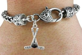 <BR>                                 NICKEL FREE ! <BR>WHOLESALE HOCKEY LOBSTER HEART BRACELET <bR>                            EXCLUSIVELY OURS!! <Br>                       AN ALLAN ROBIN DESIGN!! <BR>                 LEAD, NICKEL & CADMIUM FREE!! <BR>              W21591B - SILVER TONE HOCKEY STICKS <BR> AND PUCK CHARM ON HEART LOBSTER CLASP BRACELET <BR>                                           $9.38 �2015