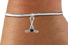 <BR>                                 NICKEL FREE !<BR>WHOLESALE HOCKEY SNAKE CHAIN BRACELET <bR>                            EXCLUSIVELY OURS!! <Br>                       AN ALLAN ROBIN DESIGN!! <BR>                 LEAD, NICKEL & CADMIUM FREE!! <BR>              W21594B - SILVER TONE HOCKEY STICKS <BR>      AND PUCK CHARM ON SNAKE CHAIN BRACELET <BR>                                           $9.38 �2015