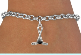 <BR>         NICKEL FREE & ADJUSTABLE BRACELET ! <BR>WHOLESALE HOCKEY LOBSTER CHAIN BRACELET <bR>                            EXCLUSIVELY OURS!! <Br>                       AN ALLAN ROBIN DESIGN!! <BR>                 LEAD, NICKEL & CADMIUM FREE!! <BR>              W21596B - SILVER TONE HOCKEY STICKS <BR>            AND PUCK CHARM ON LOBSTER CLASP BRACELET <BR>                                   $8.38 �2015