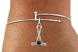 <BR>              NICKEL FREE & ADJUSTABLE BRACELET ! <BR>     WHOLESALE HOCKEY SKINNEY WIRE BRACELET <bR>                            EXCLUSIVELY OURS!! <Br>                       AN ALLAN ROBIN DESIGN!! <BR>                 LEAD, NICKEL & CADMIUM FREE!! <BR>              W21599B - SILVER TONE HOCKEY STICKS <BR>  AND PUCK CHARM ON THIN ADJUSTABLE WIRE BRACELET <BR>                                                  $8.38 �2015