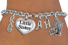<BR>      NICKEL FREE & ADJUSTABLE AUTHORIZED BRACELET !<br>               FABULOUS NEW SORORITY CHARM BRACELET. <br>             PERSONALIZE IT WITH YOUR SILVER TONE INITIALS     <br>     YOUR BIG SISTERS, LITTLE SISTERS, OR AN ALUM'S<br>   INTITALS. ADD YOUR SORORITY'S GREEK LETTERS, YOUR<br> SORORITY'S MASCOT, AND THE HEART CHARM THAT YOU WANT. <br>   LEAD, NICKEL, AND  CADMIUM FREE, EXCLUSIVELY OURS,<br> AN ALLAN ROBIN DESIGN.  W21602B  ONLY $20.99   �2015