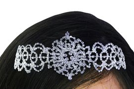 <bR>          LEAD & NICKEL FREE!!<bR>W21621T - GENUINE AUSTRIAN<Br>  CRYSTAL ORNATE PATTERNED<bR>   LACE CRYSTAL HEADBAND <Br>        FROM $11.25 TO $25.00
