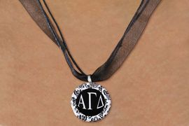 <BR>   NICKEL FREE & ADJUSTABLE NECKLACE !<BR> WHOLESALE FASHION SORORITY JEWELRY <BR>                 EXCLUSIVELY OURS!! <BR>            AN ALLAN ROBIN DESIGN!! <BR>      LEAD, NICKEL & CADMIUM FREE!! <BR>  W21624N - OFFICIAL GREEK SORORITY <BR>      ALPHA GAMMA DELTA DISK CHARM ON <Br>        BLACK SHEER CORDED NECKLACE <BR>          FROM $4.16 TO $9.25 �2015
