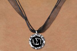 <BR>   NICKEL FREE & ADJUSTABLE NECKLACE !<BR> WHOLESALE FASHION SORORITY JEWELRY <BR>                 EXCLUSIVELY OURS!! <BR>            AN ALLAN ROBIN DESIGN!! <BR>      LEAD, NICKEL & CADMIUM FREE!! <BR>  W21627N - OFFICIAL GREEK SORORITY <BR>      ALPHA SIGMA TAU DISK CHARM ON <Br>        BLACK SHEER CORDED NECKLACE <BR>          FROM $4.16 TO $9.25 �2015