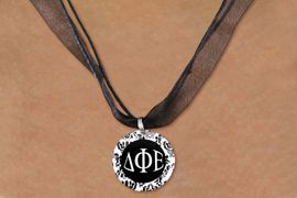 <BR>   NICKEL FREE & ADJUSTABLE NECKLACE !<BR> WHOLESALE FASHION SORORITY JEWELRY <BR>                 EXCLUSIVELY OURS!! <BR>            AN ALLAN ROBIN DESIGN!! <BR>      LEAD, NICKEL & CADMIUM FREE!! <BR>  W21631N - OFFICIAL GREEK SORORITY <BR>    DELTA PHI EPSILON DISK CHARM ON <Br>        BLACK SHEER CORDED NECKLACE <BR>         FROM $4.16 TO $9.25 �2015
