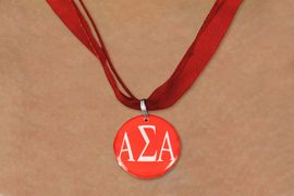 <BR>   NICKEL FREE & ADJUSTABLE NECKLACE !<BR> WHOLESALE FASHION SORORITY JEWELRY <BR>                 EXCLUSIVELY OURS!! <BR>            AN ALLAN ROBIN DESIGN!! <BR>      LEAD, NICKEL & CADMIUM FREE!! <BR>  W21650N - OFFICIAL GREEK SORORITY <BR>ALPHA SIGMA ALPHA COLOR DISK CHARM <Br>  ON RED SHEER DUAL CORDED NECKLACE <BR>          FROM $4.16 TO $9.25 �2015