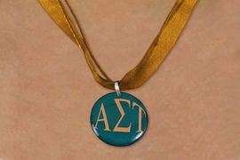 <BR>   NICKEL FREE & ADJUSTABLE NECKLACE !<BR> WHOLESALE FASHION SORORITY JEWELRY <BR>                 EXCLUSIVELY OURS!! <BR>            AN ALLAN ROBIN DESIGN!! <BR>      LEAD, NICKEL & CADMIUM FREE!! <BR>  W21651N - OFFICIAL GREEK SORORITY <BR> ALPHA SIGMA TAU COLOR DISK CHARM ON <Br>  BROWN SHEER DUAL CORDED NECKLACE <BR>          FROM $4.16 TO $9.25 �2015