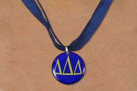 <BR>   NICKEL FREE & ADJUSTABLE NECKLACE !<BR> WHOLESALE FASHION SORORITY JEWELRY <BR>                 EXCLUSIVELY OURS!! <BR>            AN ALLAN ROBIN DESIGN!! <BR>      LEAD, NICKEL & CADMIUM FREE!! <BR>  W21652N - OFFICIAL GREEK SORORITY <BR> DELTA DELTA DELTA COLOR DISK CHARM ON <Br> NAVY BLUE SHEER DUAL CORDED NECKLACE <BR>          FROM $4.16 TO $9.25 �2015