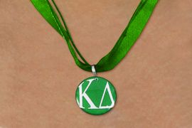<BR>   NICKEL FREE & ADJUSTABLE NECKLACE !<BR> WHOLESALE FASHION SORORITY JEWELRY <BR>                 EXCLUSIVELY OURS!! <BR>            AN ALLAN ROBIN DESIGN!! <BR>      LEAD, NICKEL & CADMIUM FREE!! <BR>  W21657N - OFFICIAL GREEK SORORITY <BR>       KAPPA DELTA COLOR DISK CHARM ON <Br>  GREEN SHEER DUAL CORDED NECKLACE <BR>          FROM $4.16 TO $9.25 �2015