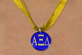 <BR>   NICKEL FREE & ADJUSTABLE NECKLACE !<BR> WHOLESALE FASHION SORORITY JEWELRY <BR>                 EXCLUSIVELY OURS!! <BR>            AN ALLAN ROBIN DESIGN!! <BR>      LEAD, NICKEL & CADMIUM FREE!! <BR>  W21667N - OFFICIAL GREEK SORORITY <BR> ALPHA XI DELTA COLOR DISK CHARM ON <Br> ATHLETIC GOLD SHEER DUAL CORDED NECKLACE <BR>          FROM $4.16 TO $9.25 �2015