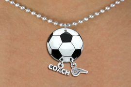 """<BR>   NICKEL FREE & ADJUSTABLE NECKLACE !<Br>                  EXCLUSIVELY OURS!!<Br>            AN ALLAN ROBIN DESIGN!!<Br>                 LEAD & NICKEL FREE!! <BR>       THIS IS A PERSONALIZED ITEM <Br>W21668N - SILVER TONE BALL CHAIN <BR>NECKLACE AND SOCCER BALL PENDANT <BR>WITH """"COACH"""" AND """"WHISTLE"""" CHARMS<BR>        FROM $7.65 TO $17.00 �2014"""