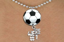 """<BR>   NICKEL FREE & ADJUSTABLE NECKLACE !<Br>                  EXCLUSIVELY OURS!!<Br>            AN ALLAN ROBIN DESIGN!!<Br>                 LEAD & NICKEL FREE!! <Br>W21672N - SILVER TONE BALL CHAIN <BR>NECKLACE AND SOCCER BALL PENDANT <BR>WITH SILVER TONE """"WE'RE #1"""" CHARM <BR>        FROM $7.31 TO $16.25 �2015"""
