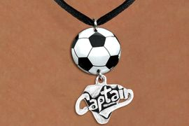 """<BR>   NICKEL FREE & ADJUSTABLE NECKLACE !<Br>                  EXCLUSIVELY OURS!!<Br>            AN ALLAN ROBIN DESIGN!!<Br>                 LEAD & NICKEL FREE!! <Br>W21690N - BLACK SUEDE LEATHERETTE <BR>NECKLACE AND SOCCER BALL PENDANT <BR>WITH SILVER TONE """"CAPTAIN"""" CHARM <BR>        FROM $7.31 TO $16.25 �2015"""