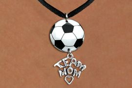 """<BR>   NICKEL FREE & ADJUSTABLE NECKLACE !<Br>                  EXCLUSIVELY OURS!!<Br>            AN ALLAN ROBIN DESIGN!!<Br>                 LEAD & NICKEL FREE!! <Br>W21694N - BLACK SUEDE LEATHERETTE <BR>NECKLACE AND SOCCER BALL PENDANT <BR>WITH SILVER TONE """"TEAM MOM"""" CHARM <BR>        FROM $7.31 TO $16.25 �2015"""