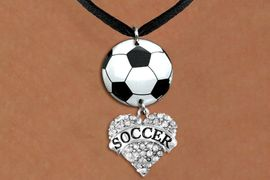 """<BR>   NICKEL FREE & ADJUSTABLE NECKLACE !<Br>                  EXCLUSIVELY OURS!!<Br>            AN ALLAN ROBIN DESIGN!!<Br>                 LEAD & NICKEL FREE!! <Br>W21696N - BLACK SUEDE LEATHERETTE <BR>NECKLACE AND SOCCER BALL PENDANT <BR>WITH CRYSTAL & SILVER TONE """"SOCCER"""" HEART CHARM <BR>        FROM $7.31 TO $16.25 �2015"""