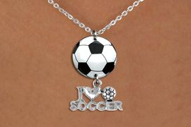 """<BR>   NICKEL FREE & ADJUSTABLE NECKLACE !<Br>                  EXCLUSIVELY OURS!!<Br>            AN ALLAN ROBIN DESIGN!!<Br>                 LEAD & NICKEL FREE!! <Br>W21706N - SILVER TONE CHAIN CLASP <BR>NECKLACE AND SOCCER BALL PENDANT <BR>WITH SILVER TONE """"I LOVE SOCCER"""" CHARM <BR>        FROM $7.31 TO $16.25 �2015"""
