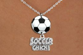 """<BR>   NICKEL FREE & ADJUSTABLE NECKLACE !<Br>                  EXCLUSIVELY OURS!!<Br>            AN ALLAN ROBIN DESIGN!!<Br>                 LEAD & NICKEL FREE!! <Br>W21709N - SILVER TONE CHAIN CLASP <BR>NECKLACE AND SOCCER BALL PENDANT <BR>WITH SILVER TONE """"SOCCER CHICK!"""" CHARM <BR>        FROM $7.31 TO $16.25 �2015"""