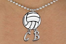 <Br>                  EXCLUSIVELY OURS!!<Br>            AN ALLAN ROBIN DESIGN!!<Br>                 LEAD & NICKEL FREE!! <BR>       THIS IS A PERSONALIZED ITEM <Br>W21714N - SILVER TONE BALL CHAIN <BR>NECKLACE AND VOLLEYBALL PENDANT <BR>            WITH YOUR INITIALS <BR>        FROM $7.65 TO $17.00 �2014