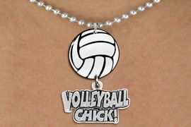 """<Br>                  EXCLUSIVELY OURS!!<Br>            AN ALLAN ROBIN DESIGN!!<Br>                 LEAD & NICKEL FREE!! <Br>W21716N - SILVER TONE BALL CHAIN <BR>NECKLACE AND VOLLEYBALL PENDANT <BR>WITH SILVER TONE """"VOLLEYBALL CHICK!"""" CHARM <BR>        FROM $7.31 TO $16.25 �2015"""
