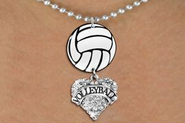 """<Br>                  EXCLUSIVELY OURS!!<Br>            AN ALLAN ROBIN DESIGN!!<Br>                 LEAD & NICKEL FREE!! <Br>W21717N - SILVER TONE BALL CHAIN <BR>NECKLACE AND VOLLEYBALL PENDANT <BR>WITH CRYSTAL & SILVER TONE """"VOLLEYBALL"""" HEART CHARM <BR>        FROM $7.31 TO $16.25 �2015"""