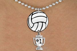 """<BR>         NICKEL FREE & ADJUSTABLE!<Br>                  EXCLUSIVELY OURS!!<Br>            AN ALLAN ROBIN DESIGN!!<Br>                 LEAD & NICKEL FREE!! <Br>W21719N - SILVER TONE BALL CHAIN <BR>NECKLACE AND VOLLEYBALL PENDANT <BR>WITH SILVER TONE """"#1 TROPHY"""" CHARM <BR>        FROM $7.31 TO $16.25 �2015"""