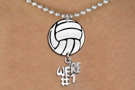 """<Br>                  EXCLUSIVELY OURS!!<Br>            AN ALLAN ROBIN DESIGN!!<Br>                 LEAD & NICKEL FREE!! <Br>W21720N - SILVER TONE BALL CHAIN <BR>NECKLACE AND VOLLEYBALL PENDANT <BR>WITH SILVER TONE """"WE'RE #1"""" CHARM <BR>        FROM $7.31 TO $16.25 �2015"""