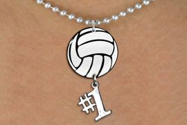 """<Br>                  EXCLUSIVELY OURS!!<Br>            AN ALLAN ROBIN DESIGN!!<Br>                 LEAD & NICKEL FREE!! <Br>W21721N - SILVER TONE BALL CHAIN <BR>NECKLACE AND VOLLEYBALL PENDANT <BR>WITH SILVER TONE """"#1"""" CHARM <BR>        FROM $7.31 TO $16.25 �2015"""