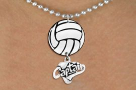 """<BR>          NICKEL FREE & ADJUSTABLE!<Br>                  EXCLUSIVELY OURS!!<Br>            AN ALLAN ROBIN DESIGN!!<Br>                 LEAD & NICKEL FREE!! <Br>W21722N - SILVER TONE BALL CHAIN <BR>NECKLACE AND VOLLEYBALL PENDANT <BR>WITH SILVER TONE """"CAPTAIN"""" CHARM <BR>        FROM $7.31 TO $16.25 �2015"""