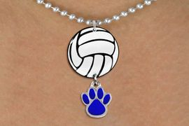 <Br>                  EXCLUSIVELY OURS!!<Br>            AN ALLAN ROBIN DESIGN!!<Br>                 LEAD & NICKEL FREE!! <Br>W21724N - SILVER TONE BALL CHAIN <BR>NECKLACE AND VOLLEYBALL PENDANT <BR>WITH YOUR CUSTOM COLOR PAW PRINT CHARM <BR>        FROM $7.31 TO $16.25 �2015