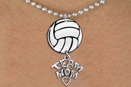 """<BR>   NICKEL FREE & ADJUSTABLE NECKLACE !<Br>                  EXCLUSIVELY OURS!!<Br>            AN ALLAN ROBIN DESIGN!!<Br>                 LEAD & NICKEL FREE!! <Br>W21725N - SILVER TONE BALL CHAIN <BR>NECKLACE AND VOLLEYBALL PENDANT <BR>WITH SILVER TONE """"TEAM MOM"""" CHARM <BR>        FROM $7.31 TO $16.25 �2015"""