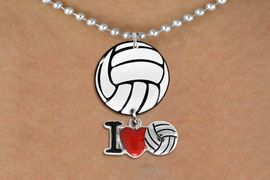 """<Br>                  EXCLUSIVELY OURS!!<Br>            AN ALLAN ROBIN DESIGN!!<Br>                 LEAD & NICKEL FREE!! <Br>W21726N - SILVER TONE BALL CHAIN <BR>NECKLACE AND VOLLEYBALL PENDANT <BR>WITH SILVER TONE """"I LOVE SOCCER"""" CHARM <BR>        FROM $7.31 TO $16.25 �2015"""