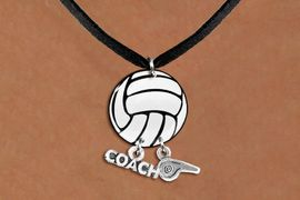 """<BR>   NICKEL FREE & ADJUSTABLE NECKLACE !<Br>                  EXCLUSIVELY OURS!!<Br>            AN ALLAN ROBIN DESIGN!!<Br>                 LEAD & NICKEL FREE!! <BR>       THIS IS A PERSONALIZED ITEM <Br>W21728N - BLACK SUEDE LEATHERETTE <BR>NECKLACE AND VOLLEYBALL PENDANT <BR>WITH """"COACH"""" AND """"WHISTLE"""" CHARMS<BR>        FROM $7.65 TO $17.00 �2014"""