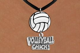 """<Br>                  EXCLUSIVELY OURS!!<Br>            AN ALLAN ROBIN DESIGN!!<Br>                 LEAD & NICKEL FREE!! <Br>W21731N - BLACK SUEDE LEATHERETTE <BR>NECKLACE AND VOLLEYBALL PENDANT <BR>WITH SILVER TONE """"VOLLEYBALL CHICK!"""" CHARM <BR>        FROM $7.31 TO $16.25 �2015"""