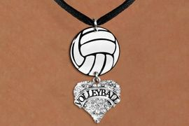 """<BR>                NICKEL FREE & ADJUSTABLE NECKLACE !<Br>                                          EXCLUSIVELY OURS!!<Br>                                    AN ALLAN ROBIN DESIGN!!<Br>                                         LEAD & NICKEL FREE!! <Br>                        W21732N - BLACK SUEDE LEATHERETTE <BR>                         NECKLACE AND VOLLEYBALL PENDANT <BR>     WITH CRYSTAL & SILVER TONE """"VOLLEYBALL"""" HEART CHARM <BR>                                FROM $7.31 TO $16.25 �2015"""