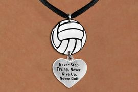 """<Br>                  EXCLUSIVELY OURS!!<Br>            AN ALLAN ROBIN DESIGN!!<Br>                 LEAD & NICKEL FREE!! <Br>W21733N - BLACK SUEDE LEATHERETTE <BR>NECKLACE AND VOLLEYBALL PENDANT <BR>WITH """"NEVER STOP TRYING..."""" HEART CHARM <BR>        FROM $7.31 TO $16.25 �2015"""