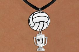 """<BR>   NICKEL FREE & ADJUSTABLE NECKLACE !<Br>                  EXCLUSIVELY OURS!!<Br>            AN ALLAN ROBIN DESIGN!!<Br>                 LEAD & NICKEL FREE!! <Br>W21734N - BLACK SUEDE LEATHERETTE <BR>NECKLACE AND VOLLEYBALL PENDANT <BR>WITH SILVER TONE """"#1 TROPHY"""" CHARM <BR>        FROM $7.31 TO $16.25 �2015"""