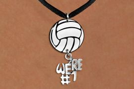"""<Br>                  EXCLUSIVELY OURS!!<Br>            AN ALLAN ROBIN DESIGN!!<Br>                 LEAD & NICKEL FREE!! <Br>W21735N - BLACK SUEDE LEATHERETTE <BR>NECKLACE AND VOLLEYBALL PENDANT <BR>WITH SILVER TONE """"WE'RE #1"""" CHARM <BR>        FROM $7.31 TO $16.25 �2015"""
