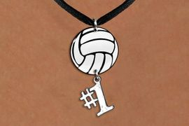 """<Br>                  EXCLUSIVELY OURS!!<Br>            AN ALLAN ROBIN DESIGN!!<Br>                 LEAD & NICKEL FREE!! <Br>W21736N - BLACK SUEDE LEATHERETTE <BR>NECKLACE AND VOLLEYBALL PENDANT <BR>WITH SILVER TONE """"#1"""" CHARM <BR>        FROM $7.31 TO $16.25 �2015"""