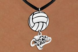 """<Br>                  EXCLUSIVELY OURS!!<Br>            AN ALLAN ROBIN DESIGN!!<Br>                 LEAD & NICKEL FREE!! <Br>W21737N - BLACK SUEDE LEATHERETTE <BR>NECKLACE AND VOLLEYBALL PENDANT <BR>WITH SILVER TONE """"CAPTAIN"""" CHARM <BR>        FROM $7.31 TO $16.25 �2015"""