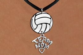 """<Br>                  EXCLUSIVELY OURS!!<Br>            AN ALLAN ROBIN DESIGN!!<Br>                 LEAD & NICKEL FREE!! <Br>W21740N - BLACK SUEDE LEATHERETTE <BR>NECKLACE AND VOLLEYBALL PENDANT <BR>WITH SILVER TONE """"TEAM MOM"""" CHARM <BR>        FROM $7.31 TO $16.25 �2015"""
