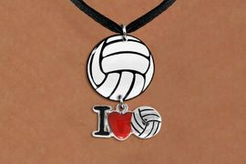 """<Br>                  EXCLUSIVELY OURS!!<Br>            AN ALLAN ROBIN DESIGN!!<Br>                 LEAD & NICKEL FREE!! <Br>W21741N - BLACK SUEDE LEATHERETTE <BR>NECKLACE AND VOLLEYBALL PENDANT <BR>WITH SILVER TONE """"I LOVE SOCCER"""" CHARM <BR>        FROM $7.31 TO $16.25 �2015"""