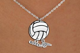 """<Br>                  EXCLUSIVELY OURS!!<Br>            AN ALLAN ROBIN DESIGN!!<Br>                 LEAD & NICKEL FREE!! <BR>       THIS IS A PERSONALIZED ITEM <Br>W21743N - LOBSTER CLASP CHAIN LINK <BR>NECKLACE AND VOLLEYBALL PENDANT <BR>WITH """"COACH"""" AND """"WHISTLE"""" CHARMS<BR>        FROM $7.65 TO $17.00 �2014"""