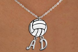 <BR>   NICKEL FREE & ADJUSTABLE NECKLACE !<Br>                  EXCLUSIVELY OURS!!<Br>            AN ALLAN ROBIN DESIGN!!<Br>                 LEAD & NICKEL FREE!! <BR>       THIS IS A PERSONALIZED ITEM <Br>W21744N - LOBSTER CLASP CHAIN LINK <BR>NECKLACE AND VOLLEYBALL PENDANT <BR>            WITH YOUR INITIALS <BR>        FROM $7.65 TO $17.00 �2014