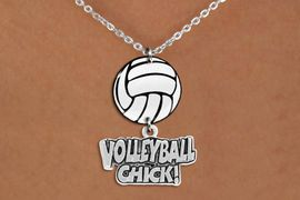"""<BR>   NICKEL FREE & ADJUSTABLE NECKLACE !<Br>                  EXCLUSIVELY OURS!!<Br>            AN ALLAN ROBIN DESIGN!!<Br>                 LEAD & NICKEL FREE!! <Br>W21746N - LOBSTER CLASP CHAIN LINK <BR>NECKLACE AND VOLLEYBALL PENDANT <BR>WITH SILVER TONE """"VOLLEYBALL CHICK!"""" CHARM <BR>        FROM $7.31 TO $16.25 �2015"""